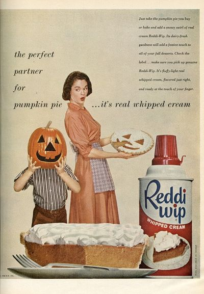 Whipped cream: the perfect way to have your kids bouncing off the walls and sticking their heads in pumpkins.