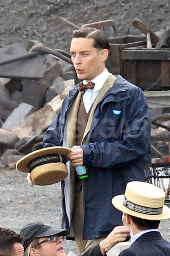 Tobey Maguire took off his hat on the set of The Great Gatsby.