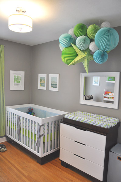 Gray Nursery With Paper Lanterns Cluster