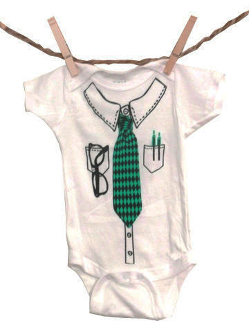 Onesie With Tie, Glasses, and Pocket Protector