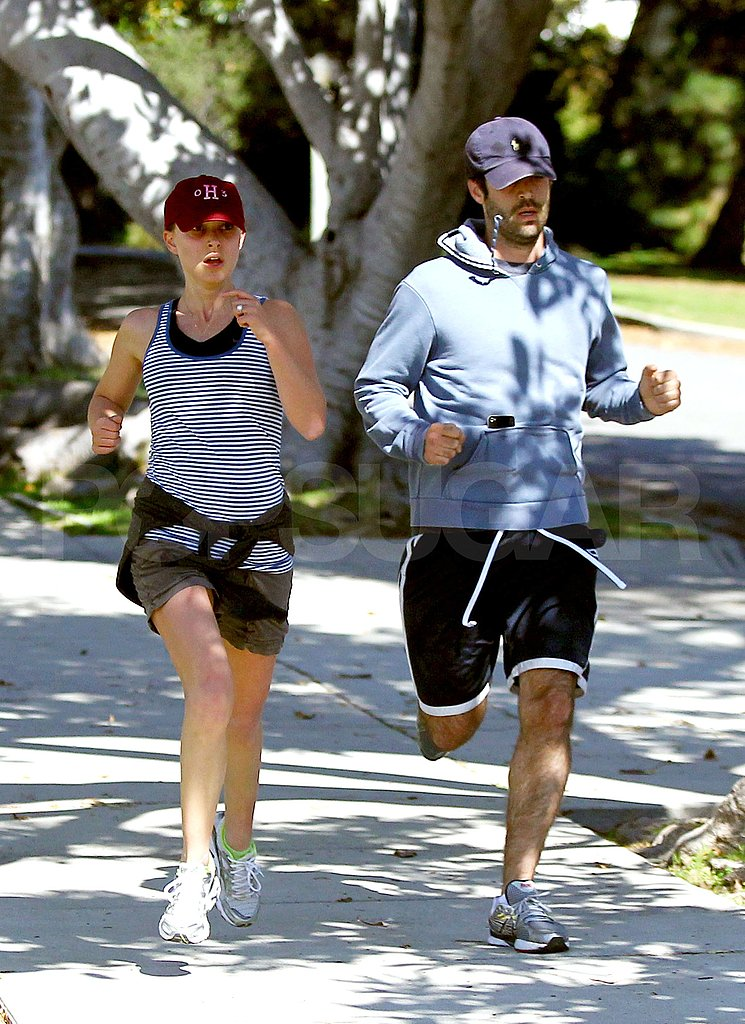 Natalie Portman went for a jog with fiancé Benjamin Millepied in LA.