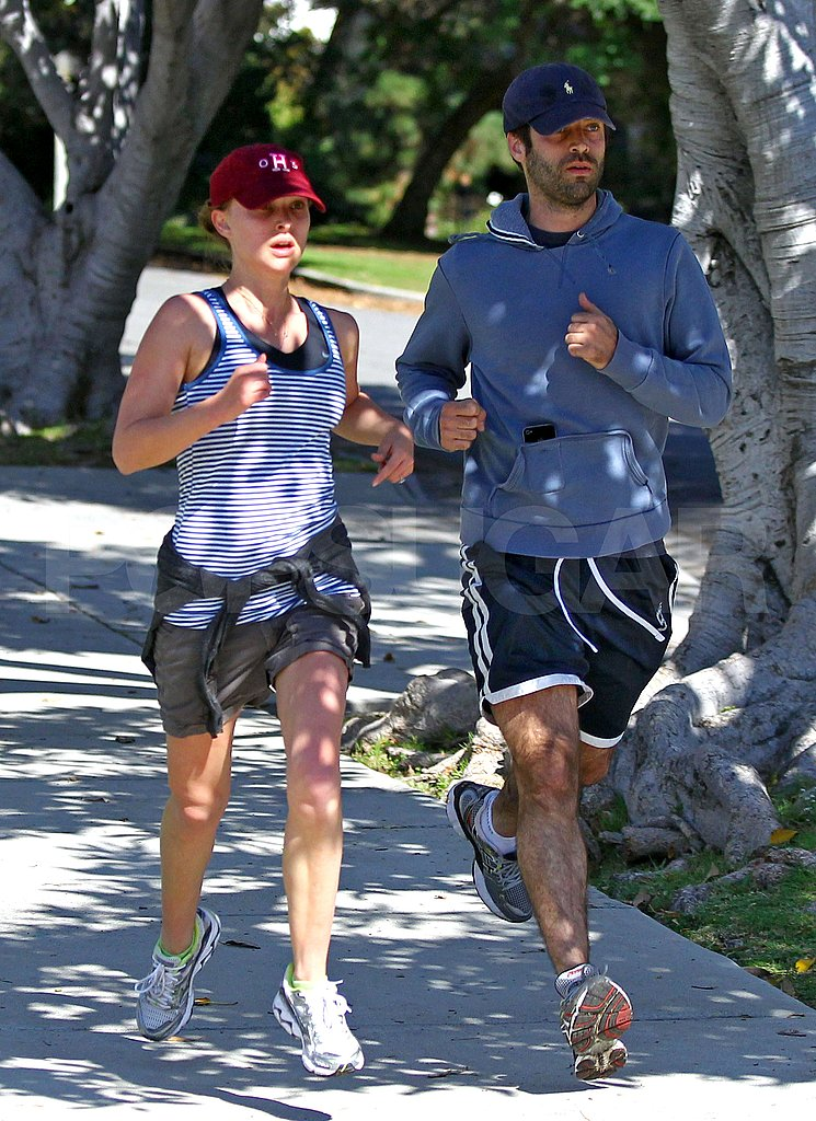 Natalie Portman went for a jog with fiancé Benjamin Millepied.