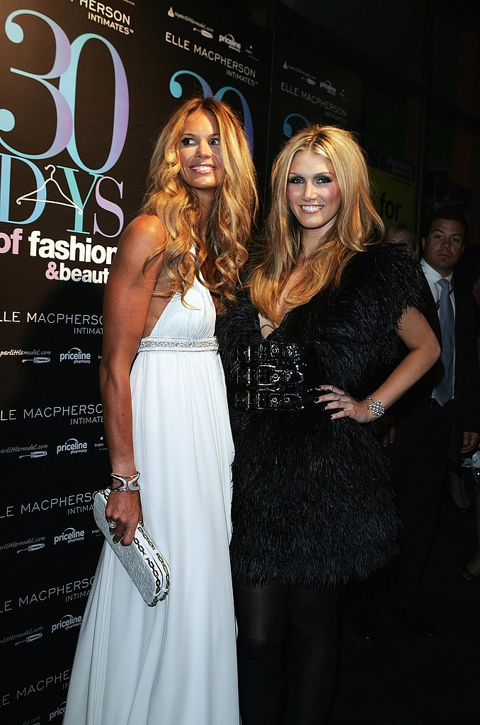 Elle Macpherson and Delta wore contrasting looks at the Sydney launch of 30 Days of Fashion and Beauty in Aug. 2007.