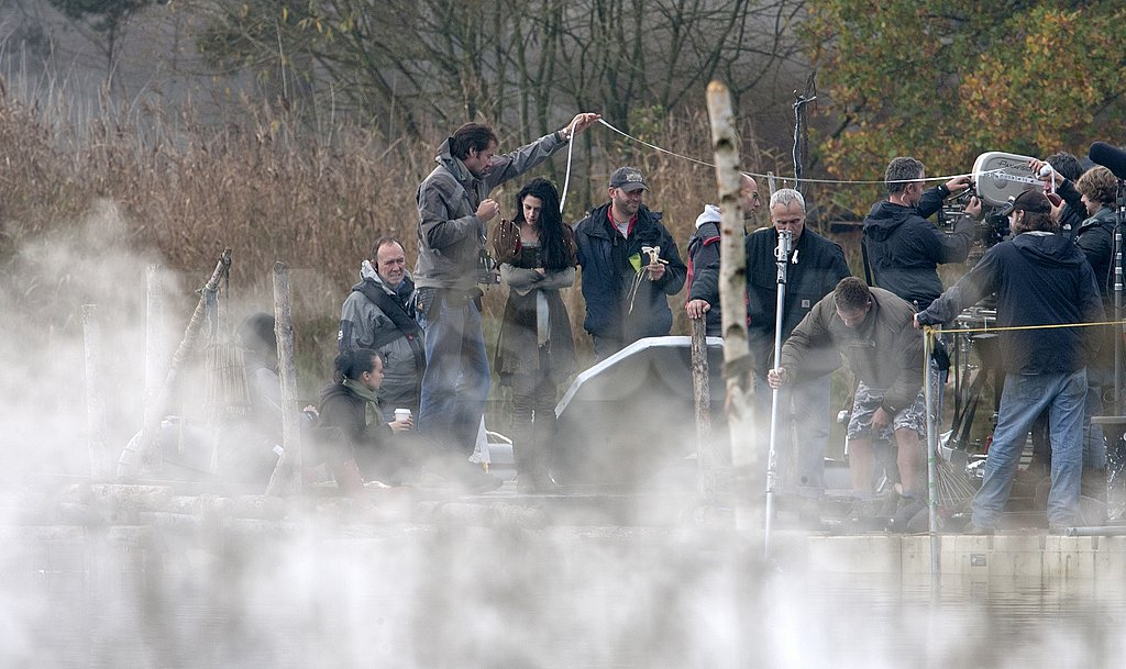 Kristen Stewart prepared to shoot a foggy scene for Snow White and the Huntsman.