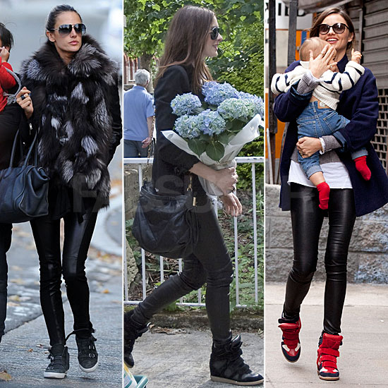 Celebrity Trend Fall 2011: Leather Pants and Sneakers