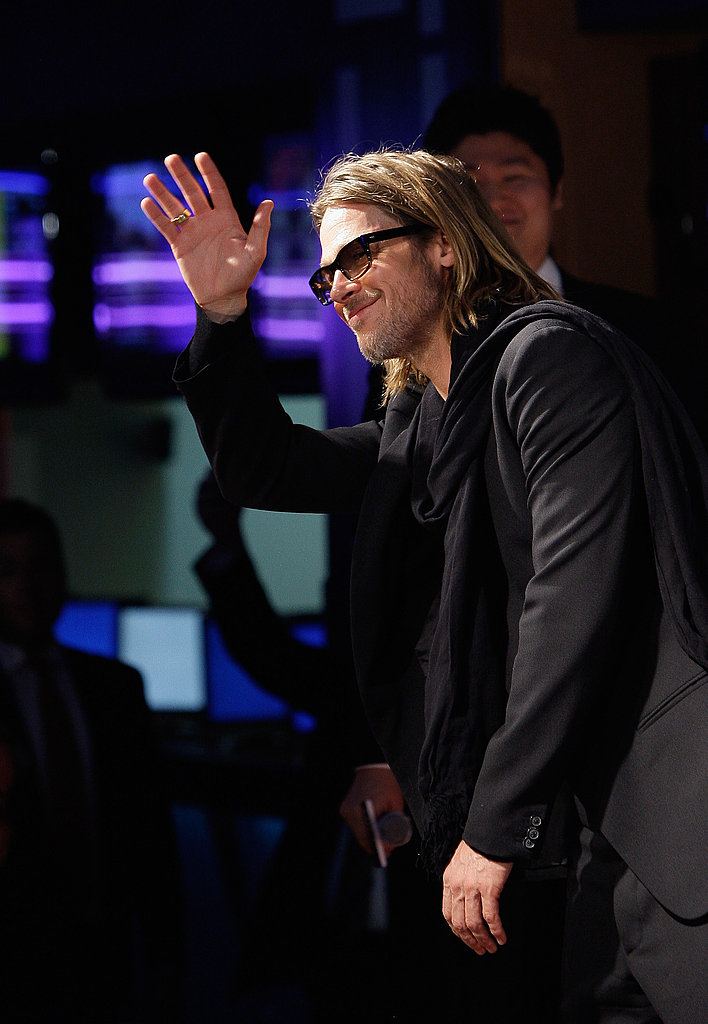 Brad Pitt wore all black to the event.