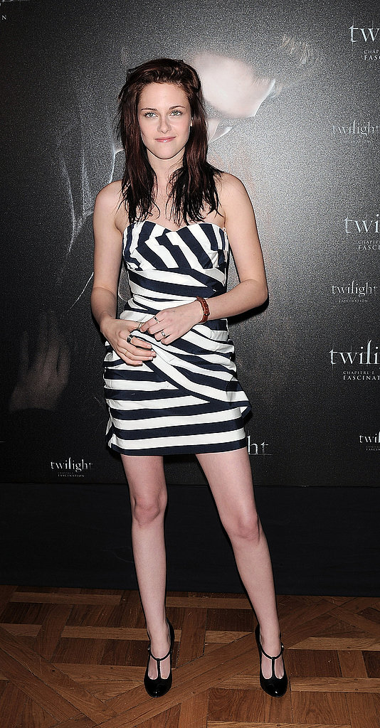 In a playful striped Camilla and Marc strapless at the Paris photocall for Twilight in December 2008.