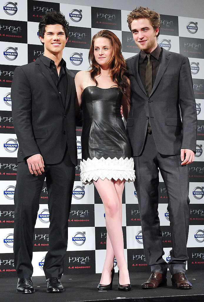 An edgy Paule Ka black leather mini dress while promoting Twilight in 2009 in Tokyo.