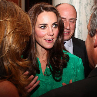 Kate Middleton in Green Dress at Reception Pictures