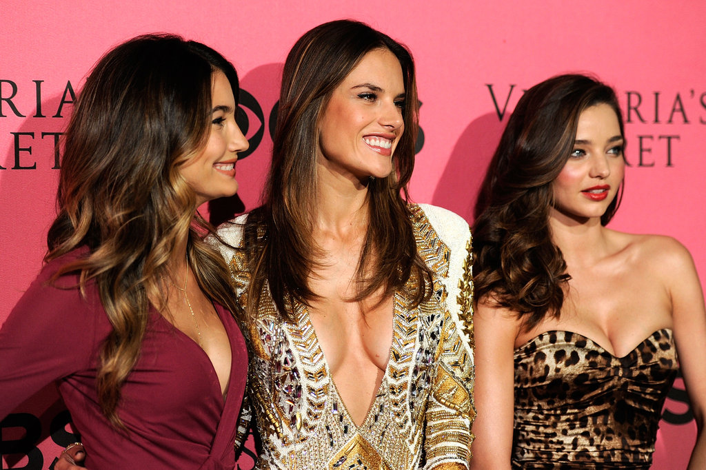 Lily Aldridge, Alessandra Ambrosio, and Miranda Kerr were all smiles at the Victoria's Secret Fashion Show viewing party.