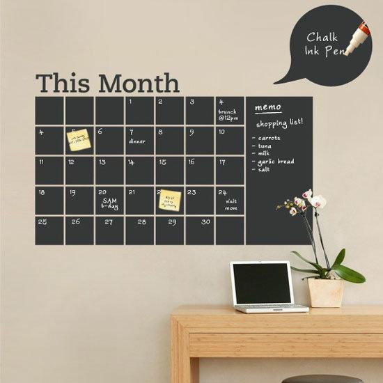 Vinyl Chalkboard Calendar Decal
