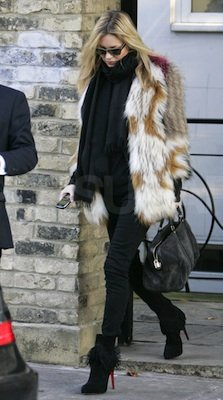 Kate Moss in Fur Isabel Marant Coat With Suede Louis Vuitton Bag