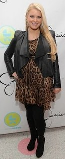 Jessica Simpson in Leopard Dolce & Gabbana Dress