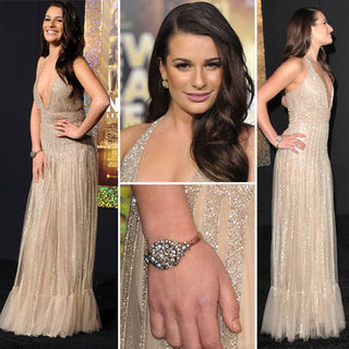 Pictures of Lea Michele at the New Year's Eve Premiere in Hollywood: See Her Sexy, Sparkly Nude Gown from all angles!