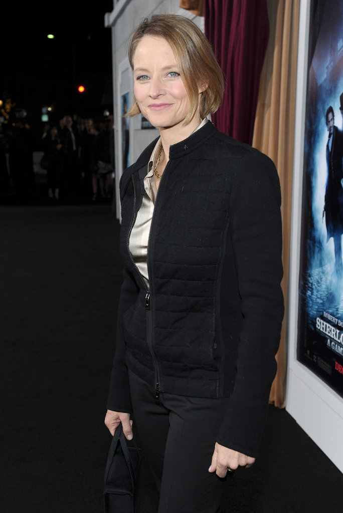 Jodie Foster attended the premiere of Sherlock Holmes: A Game of Shadows.