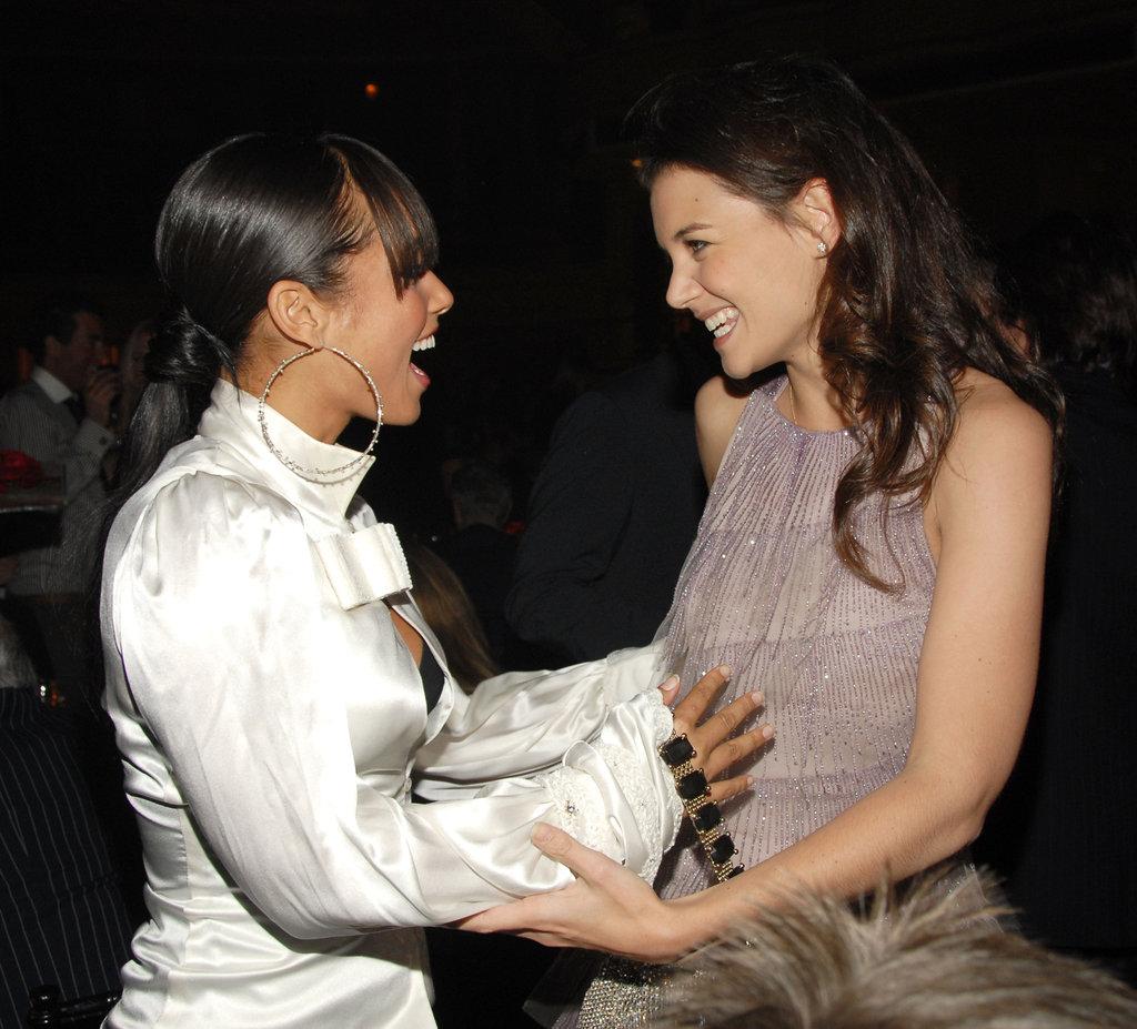 Katie Holmes and Alicia Keys bonded at a benefit gala in November 2006.
