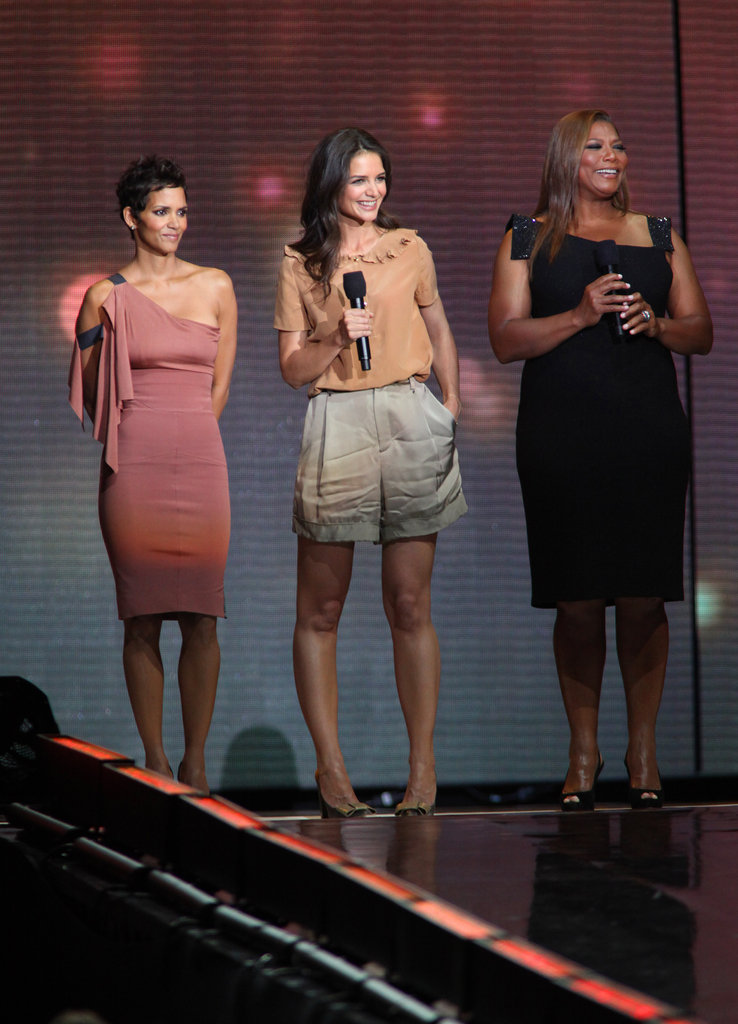 Katie Holmes joined Halle Berry and Queen Latifah on stage during Oprah's farewell spectacular in May 2011.