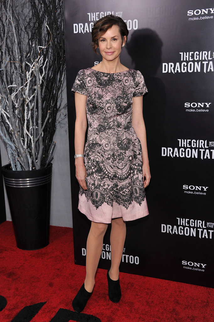 Embeth Davidtz wore ankle booties to her premiere.