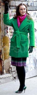 Leighton Meester in Diane von Furstenberg Coat, Milly Skirt