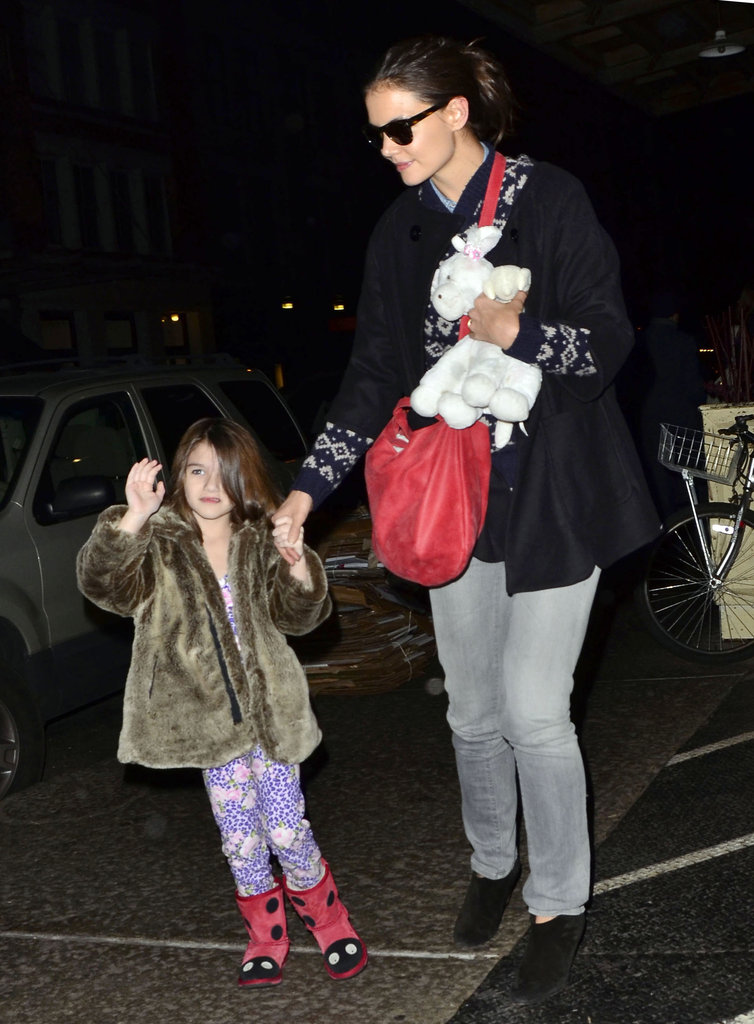 Katie Holmes and Suri Cruise headed back to their NYC hotel.