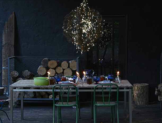 Wouldn't this fairy light hanging pendant be spectacular above scattered votives on a dinner table?