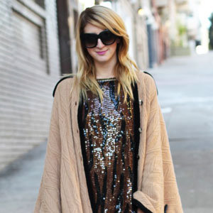 Ponchos and Sequin Tops Street Style