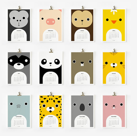 Kids Desk Calendar : Printable cute animal calendar pencil it in
