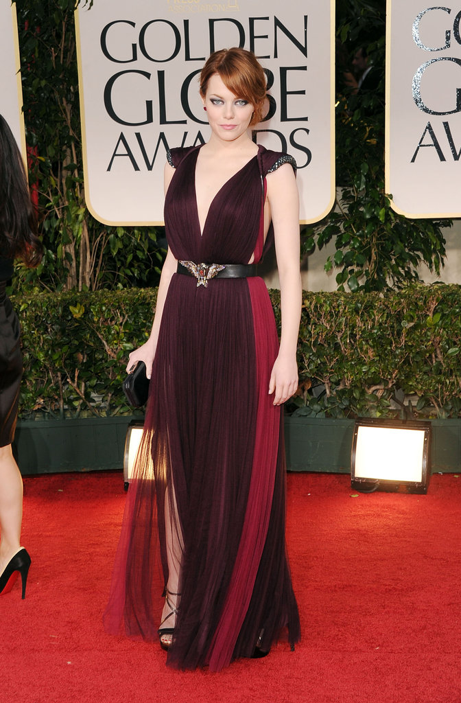 Emma Stone in Lanvin at the Golden Globes.