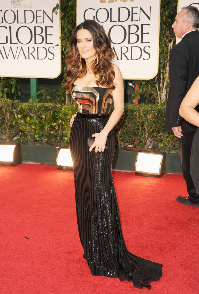 Salma Hayek wearing Gucci at the Golden Globes.
