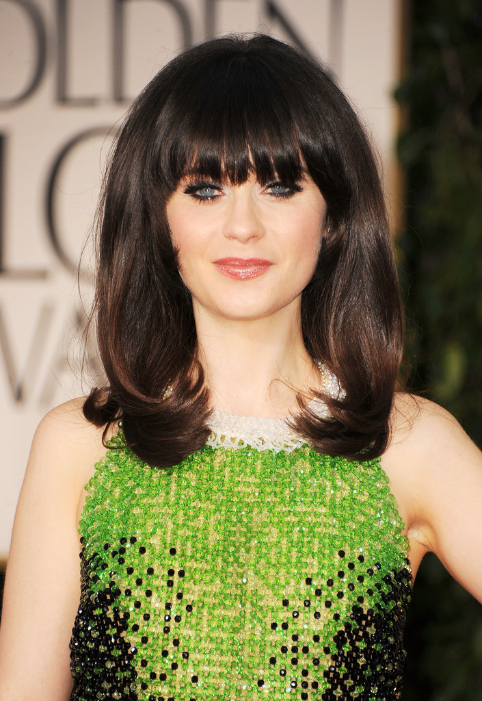 Zooey Deschanel at the Golden Globes.