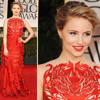 Dianna Agron Wears Lase-Cut Swan Giles Deacon Red Dress to the 2012 Golden Globes