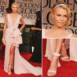 Charlize Theron Wears Christian Dior Couture to the 2012 Golden Globes