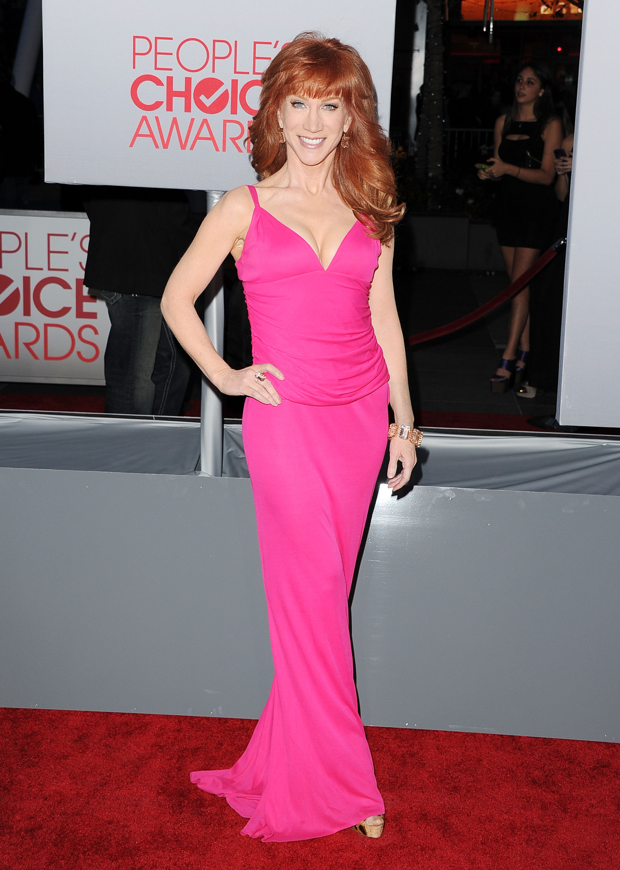 Kathy Griffin wore a deep V-neck dress.