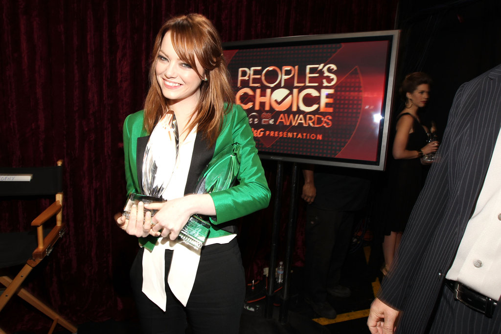 Emma Stone smiled with her 2012 People's Choice Award.