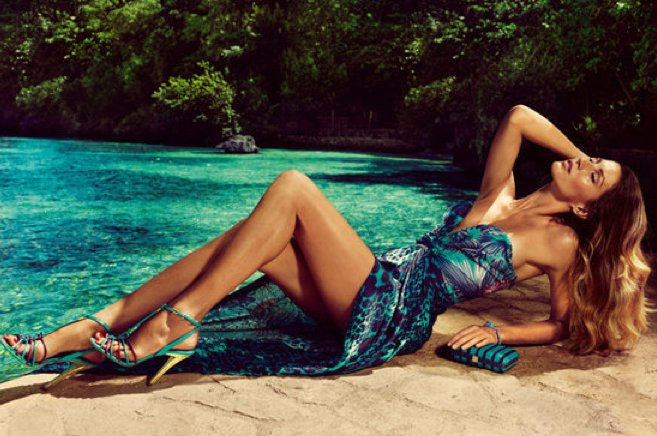 Gisele lounges poolside in a Salvatore Ferragamo Spring '12 spread. Source: Fashion Gone Rogue