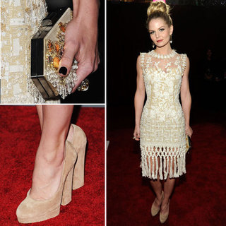 Pictures of Jennifer Morrison in Tassled Oscar de la Renta Lace Dress at the 2012 People's Choice Awards