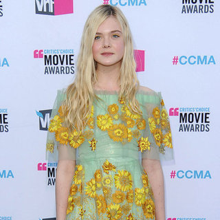 Elle Fanning Sunflower Rodarte Dress Pictures at 2012 Critics' Choice Awards