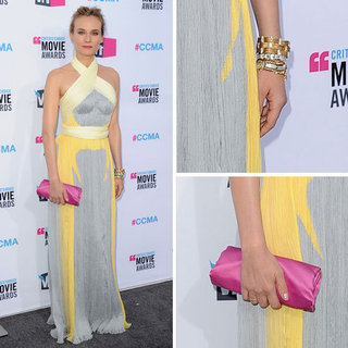 Pictures of Diane Kruger Wears a Pale Grey and Yellow at the 2012 Critic's Choice Awards