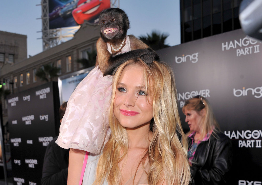 Crystal the monkey stole the show in 2010's The Hangover Part II and nearly overshadows Kristin Bell with her red carpet finery.