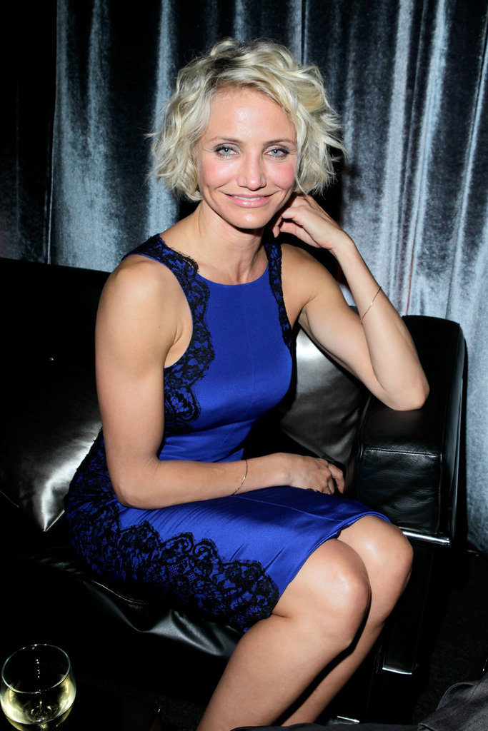 Cameron Diaz in blue at the Weinstein Company's Golden Globes party.