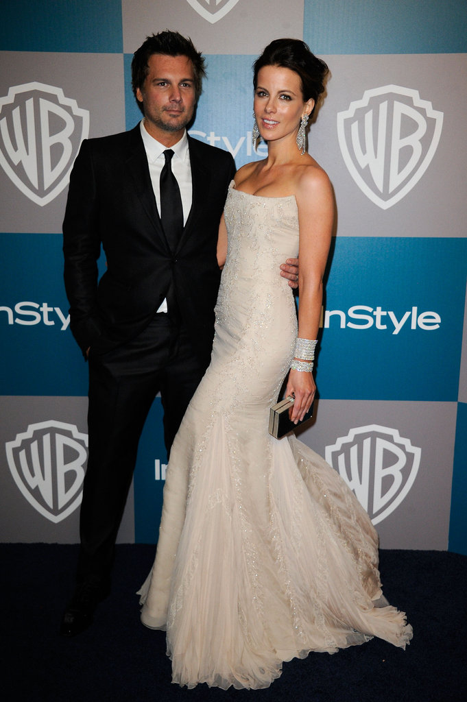Kate Beckinsale was on the red carpet with Len Wiseman at InStyle's Golden Globes afterparty.