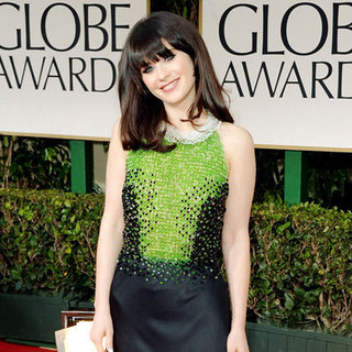 Zooey Deschanel Custom Prada Dress Pictures at 2012 Golden Globes