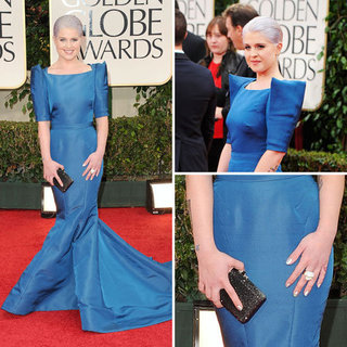 Pictures of Kelly Osbourne Wearing Blue Zac Posen Pre-Fall 2012 Collection to the 2012 Golden Globes