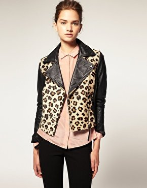 ASOS | ASOS Leather Biker With Leopard Print Pony Panel at ASOS