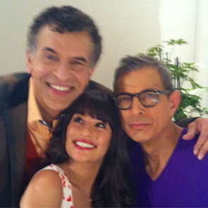 First Picture of Jeff Goldblum and Brian Stokes Mitchell as Rachel Berry's Dads on Glee with Lea Michele
