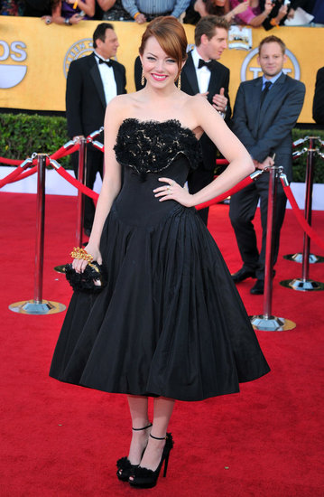 Emma Stone wore Alexander McQueen.