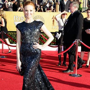 Glee Star Jayma Mays in Reem Acra Sequinned Dress at the 2012 SAGs Awards