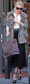 Amber Heard in Black Mid-Length Skirt and Army Jacket