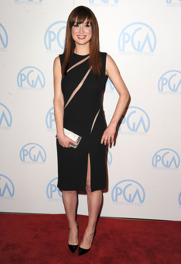 Ellie Kemper looked amazing in an edgy Martin Grant LBD and classic Christian Louboutin Pigalle pumps. The multiple slash cutouts in the bodice added a sexy twist to the dress silhouette.