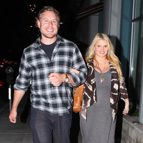 Pregnant Jessica Simpson Gray Maxi Dress With Eric Pictures